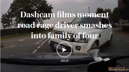 Dashcam films moment road rage driver smashes into family of four